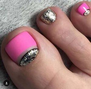matte pink silver pedicure