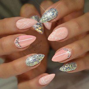 pink white glitter stiletto
