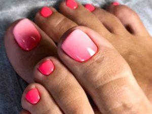 ombre big toe pink