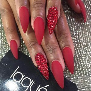matte red with stones