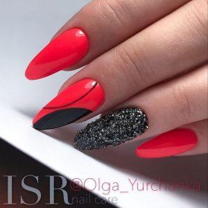 black glitter on red
