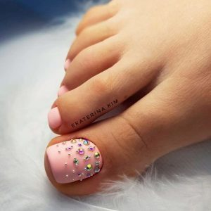 matte pink colorful stones toes