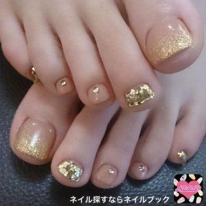 gold ombre sparkle pedi