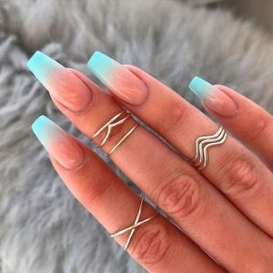 ombre french turquoise summer