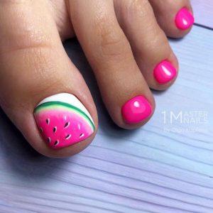 pedicure with watermelon design