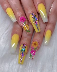 ombre yellow colorful stones