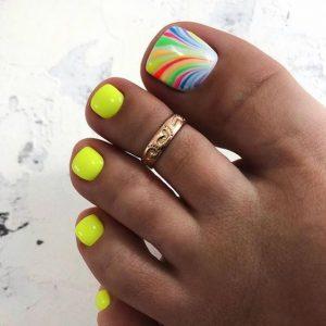 rainbow neon toes