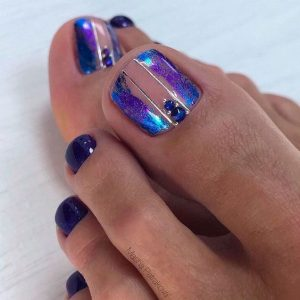clear blue edge toe nails