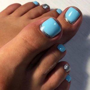 sky blue pedicure design