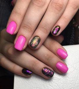 solar nails pink design