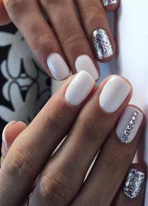edgy white glitter nail