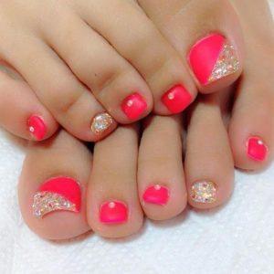 neon pink rhinestone toe