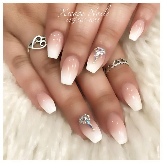 embellished ombre french solar nails