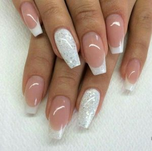 french glitter tips solid