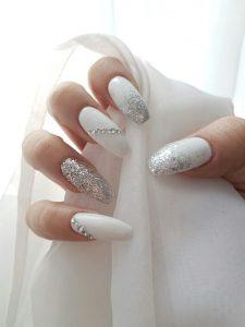silver ombre rhinestones white