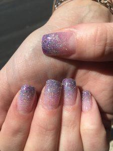 solar nails bright glitter