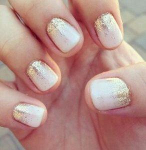 short white glitter nails
