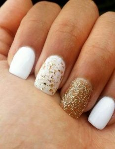 white with golden flakes