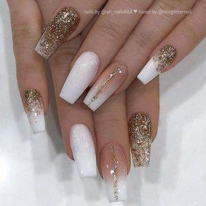 nude glitter gold striping
