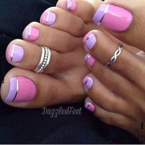 purple metallic pink french pedicure