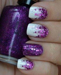 ombre purple glitter on white