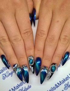 embellished blue cateye