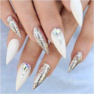 edgy matte white glitter