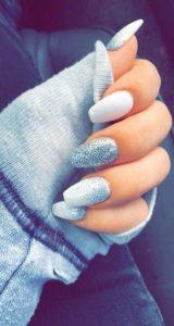 blue glitter on white
