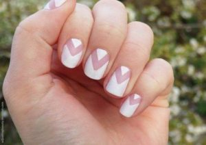 negative space matte white nails