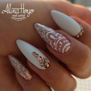 clear white lace design glitter