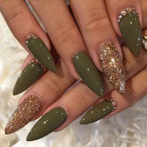 olive glitter stones