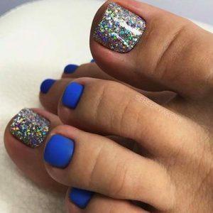 multi glitter cobalt toes