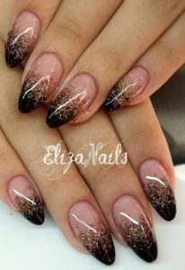 ombre black gold french
