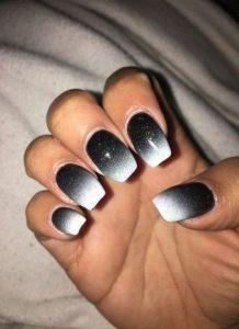 black ombre with white glitter