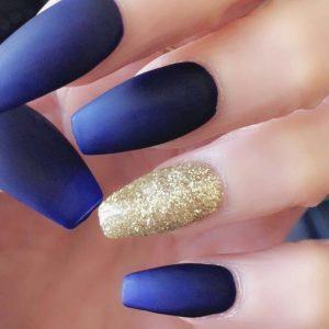 matte blue ombre gold