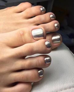 silver chrome pedicure