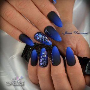 matte blue black ombre