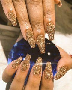 long full glitter gold