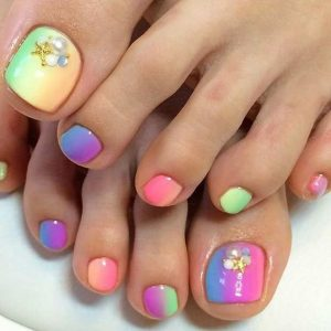 rainbow fading stone toes