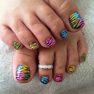 rainbow animal print toes