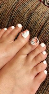 white with coral floral toes