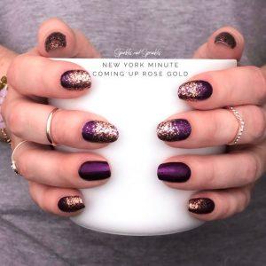 gold glitter on dark purple
