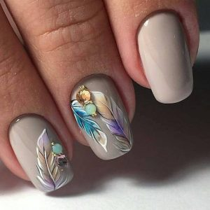 taupe with feathers