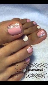 clear white floral pink toes