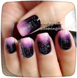 glitter pink black ombre