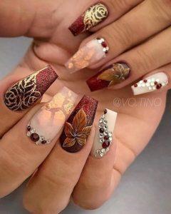 embellished fall nails