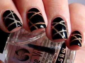 black with gold glitter stripes