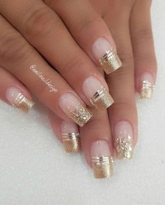 clear with gold stripes glitter tips