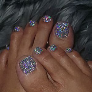 multi color silver glitter pedicure