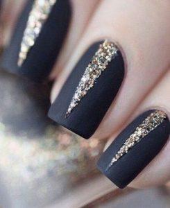 matte black glitter triangle